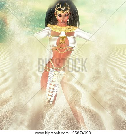 Desert landscape with a magical Egyptian Goddess appearing in the sand.  White sunlight sparkles thr