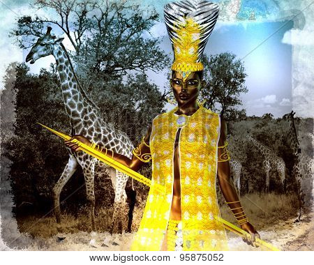 African princess in our digital art style with giraffes in the background. Her golden spear and head