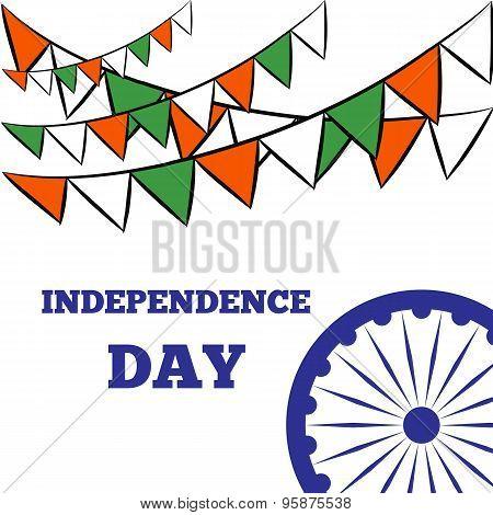 Indian Independence Day Background With Ashoka Wheel.
