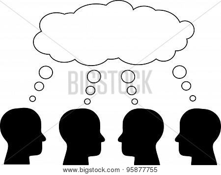 Think tank, several heads thinking. Vector.
