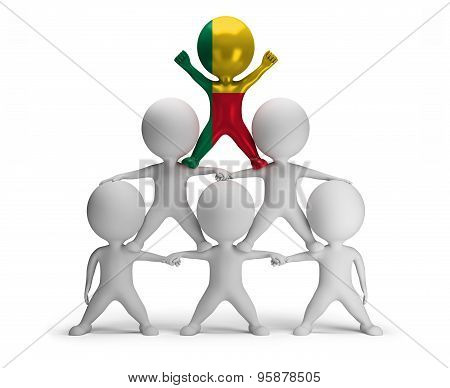3d small people standing on each other in the form of a pyramid with the top leader Benin