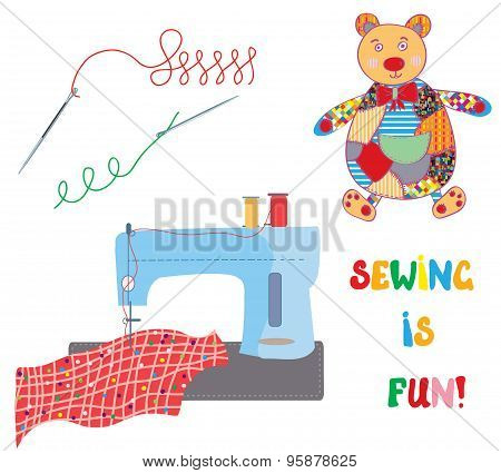 Sewing Set With Patchwork Bear - Funny Design
