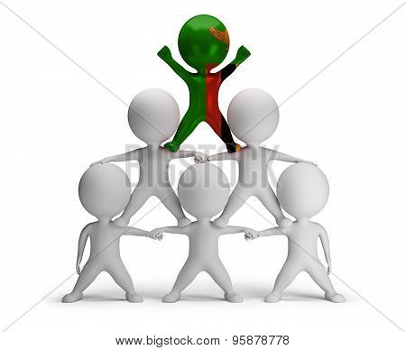 3d small people standing on each other in the form of a pyramid with the top leader Zambia