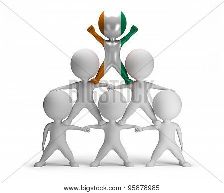 3d small people standing on each other in the form of a pyramid with the top leader Ivory, Coast