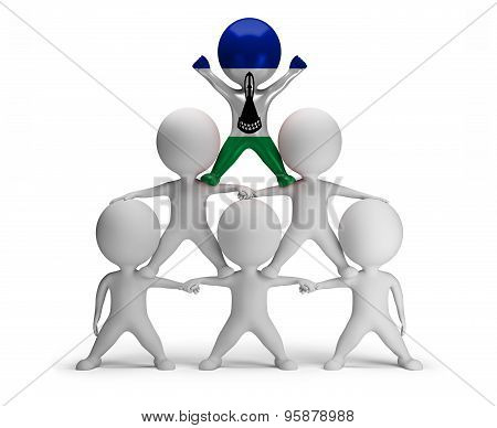 3d small people standing on each other in the form of a pyramid with the top leader Lesotho
