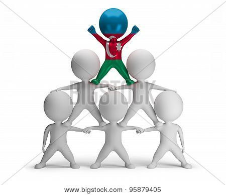 3d small people standing on each other in the form of a pyramid with the top leader Azerbaijan