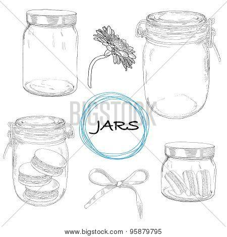 Vector set hand drawn jars. Vintage illustration.