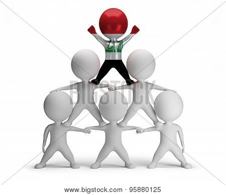 3d small people standing on each other in the form of a pyramid with the top leader Iraq