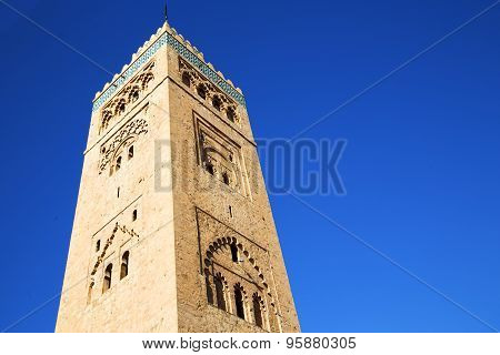 History In Maroc   Minaret Religion And The Blue     Sky