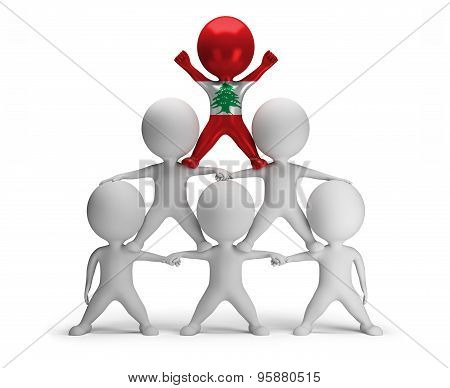 3d small people standing on each other in the form of a pyramid with the top leader Lebanon