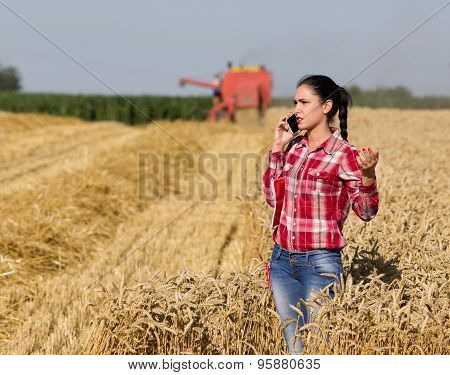 Pretty Woman Talking On Mobile Phone In Wheat Field