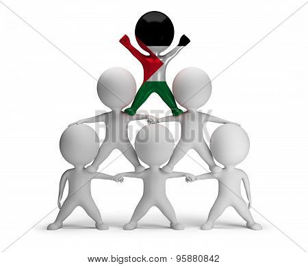 3d small people standing on each other in the form of a pyramid with the top leader Palestine