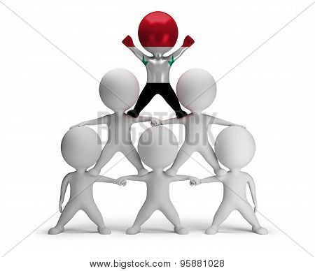 3d small people standing on each other in the form of a pyramid with the top leader Syria