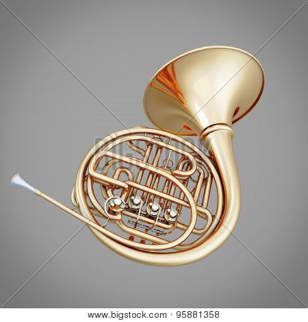French Horn On A Gray Background