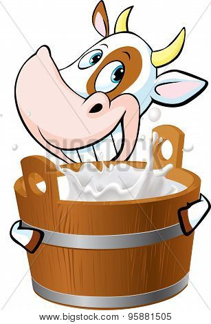 Cow Holding A Pail Full Of Milk - Vector Illustration