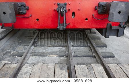 Red Locomotive Front Part And Railway Detail