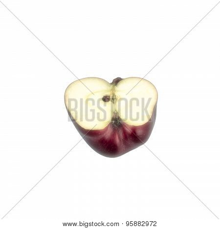 Red Royal Gala Apple Cut In Half On White Background