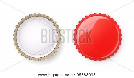 Both Sides Of A Red Metal Bottle Cap