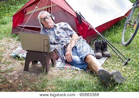 Senior Hiker Resting