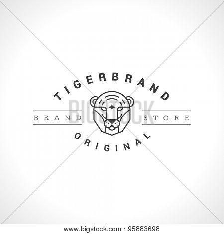 Vintage Tiger face Line art logotype emblem symbol. Can be used for labels, badges, stickers, logos vector illustration.