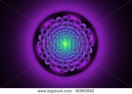 Fractal Illustration Of A Neon Flower On A Dark Background