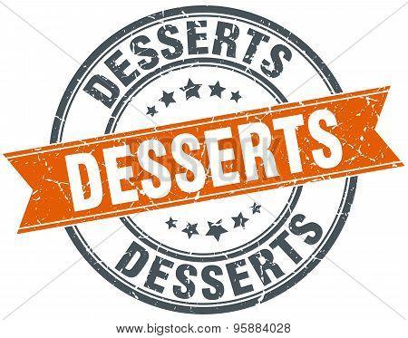 Desserts Round Orange Grungy Vintage Isolated Stamp