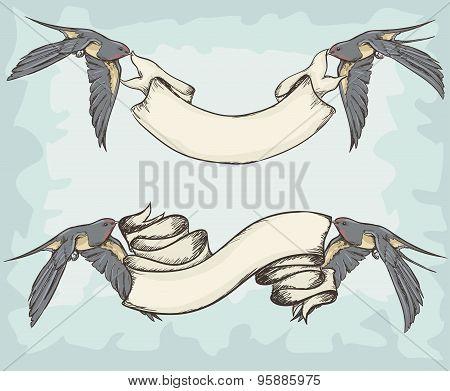 Swallows Holding Ribbons