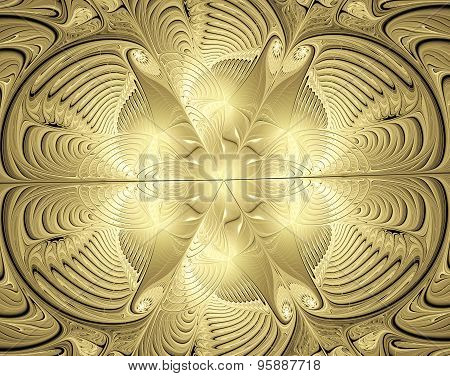 Illustration Background With Shiny Gold Ornaments