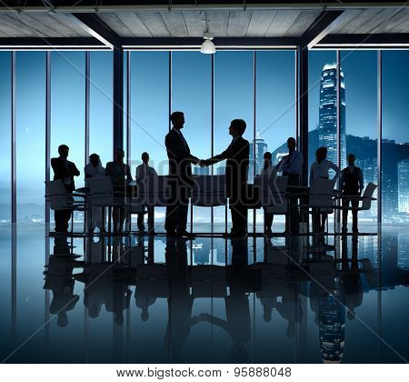 Business People Silhouette Working Agreement Teamwork Hand Shake