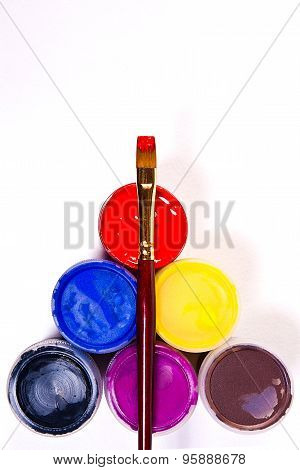 Bottles With Gouache Paints And Brush For Artistic Paintings.