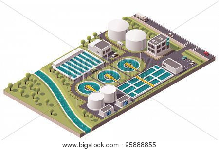 Isometric icon set representing water treatment