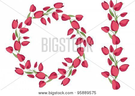 Detailed contour wreath and seamless pattern brush with tulips isolated on white. Endless horizontal texture for your design