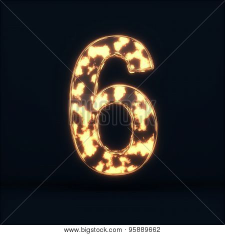 Glass Glowing Fire Digit Six Symbo