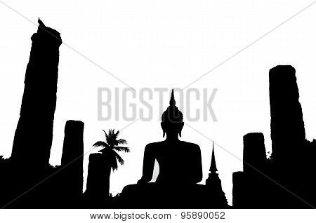 Silhouette of buddha in Sukhothai historical park,Thailand