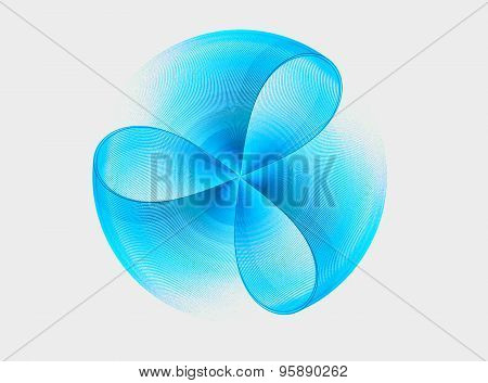 Blue Abstract Fractal Shape With White Background Computer-generated Image