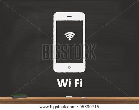 Wifi Chalkboard Vector Illustration