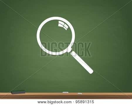 Magnifying glass icon chalkboard illustration