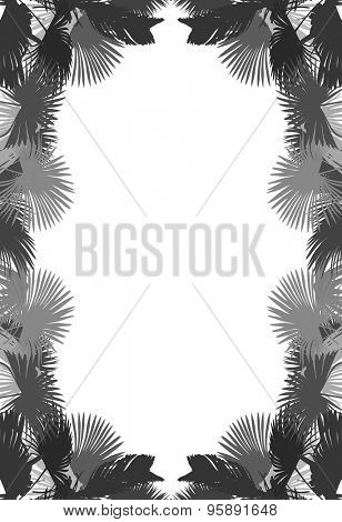 illustration with palm tree leaves frame isolated on white background