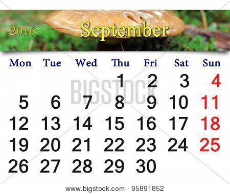 Calendar For October 2016 With Mushroom Boletus Badius