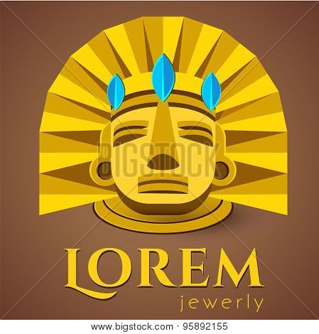 Logo template, ancient Mayan golden head, luxury style