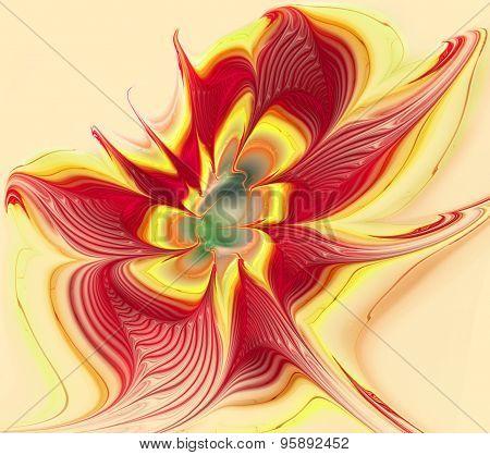 Illustration Of A Bright Fractal Flower On White Background