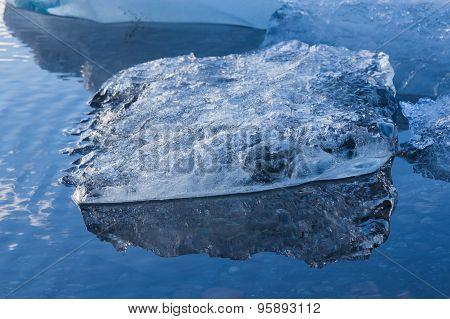 Close up Blue floating ice of Iceland