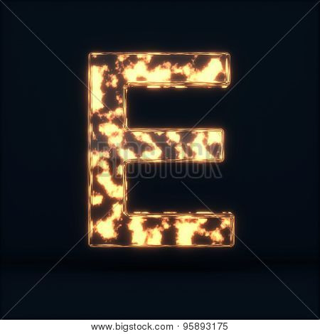 Glass Glowing Fire Letter E Symbol