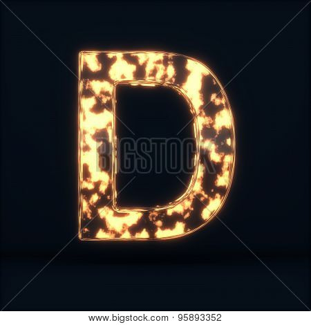 Glass Glowing Fire Letter C Symbol