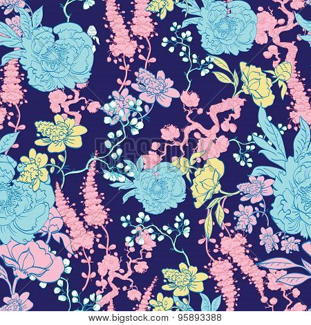 Vector Dark Blue Yellow Pink Kimono Floral Seamless Pattern