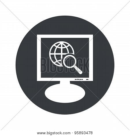 Round global search monitor icon