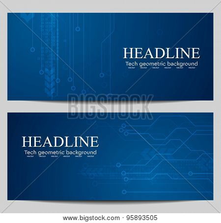 Blue tech banners with circuit board design. Vector background