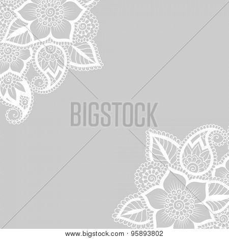 White flower corner, lace ornament.