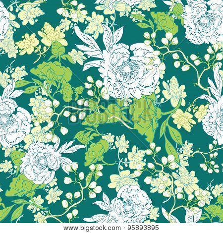 Vector Oriental Green Garden Seamless Pattern