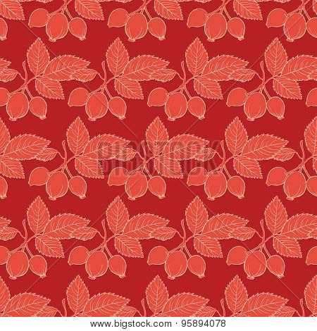 Vector Red Rosehip Drawing Stripes Seamless Pattern